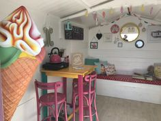 Millie's Beach Huts – A Fantastic Family Day Out! – The Unconventional Mummy Beach Hut Interior, Beach Huts, Family Days Out, Shed, Parlour, Interior Design, Ice Cream, Inspiration, Interiors
