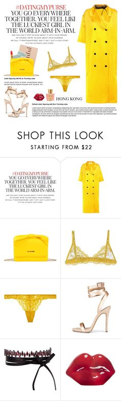 """How to Style a Yellow Dress with a Yellow Bag for Date Night in Hong Kong"" by outfitsfortravel ❤ liked on Polyvore featuring Kate Spade, Victoria Beckham, MAC Cosmetics, Love Moschino, Christies, Elle Macpherson Body, Fallon, Kosta Boda and Acqua di Parma"