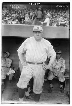Babe Ruth, 1921    1921: 59 home runs; .378 batting average.  #baseball #baberuth #vintage #history #film