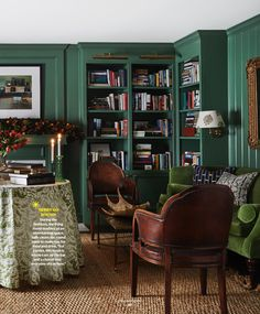 Details to Notice: Cozy Living Room Layout - Emily A. Retro Living Rooms, Cozy Living Rooms, Formal Living Rooms, Living Room Furniture, Office Furniture, Dining Rooms, Furniture Decor, Green Library, Retro Vintage