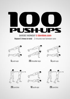 A 100 push-up routine is the core of this combat moves and core workout. Push-ups are a great total-body exercise routine, by dressing it up with exercises that demand both eccentric and concentric muscle movements we end up with a workout that's worthy o Push Up Workout, Gym Workout Tips, Boxing Workout, Workout Challenge, At Home Workouts, Workout Fitness, Workout Dumbell, Calisthenics Workout Routine, Monthly Workouts