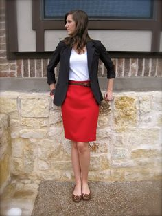 Search by items clothes closet red skirt outfits, red skirts Red Skirt Outfits, Blazer Outfits, Red Skirts, Work Fashion, Curvy Fashion, Fashion Women, Fashion Top, Fashion Edgy, Skirt Outfits