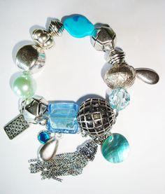 schickes Armband / Bettelarmband blau / silber