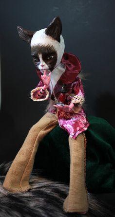 Monster High Cheshire Grumpy Cat Altered Art OOAK Fantasy Doll Victorian Repaint | eBay