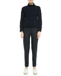 Large-Cuff Wool-Blend Skinny Pants