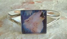 Handcrafted Glass Wolves Picture Bangle by DBHjewellery on Etsy, £7.95