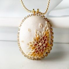 Pebble NECKLACE clay embroidery rhinestone by Anca Pe'elma, $38.00