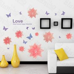 Hemu Living Room Bedroom Decorative Vinyl Mural Art Romantic Flower Large Wall Decals Stickers Appliques Home Decor ** For more information, visit image link.