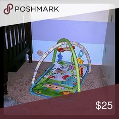 Baby play mat Rainbow forest  baby play mat hardly used. It was always a little too small for my son. It's great for travel or if you like to keep things simple. Hanging toys with musical lion and mirror. 0-6 months. Fisher price  Other
