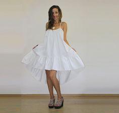 White asymmetric dress / Backless dress / Middle length dress / Boho dress