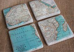 Vintage map coasters AFRICA