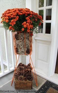 Fabulous idea - a tennis ball hopper #planter!  See more of this #fall porch eclecticallyvintage.com