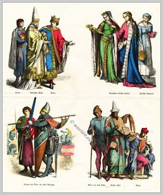 Medieval Gothic costumes 12th century clothing. Nobility, Pope, Jewish, Crusader
