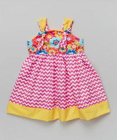 Love this Pink & Yellow Flowers Knot Dress - Toddler & Girls on #zulily! #zulilyfinds