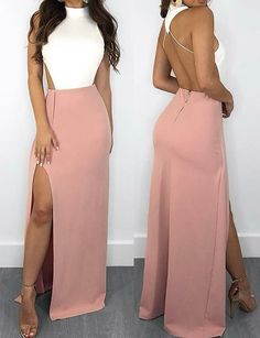 Buy Elegant Mermaid White and Pink Halter Backless Satin with Slit Sleeveless Prom Dresses in uk.Shop our beautiful collection of unique and convertible long Prom dresses from ,offers long bridesmaid dresses for women online. Long Prom Dresses Uk, Long Bridesmaid Dresses, Formal Dresses, Elegant Dresses, Sexy Dresses, Party Dresses, Summer Dresses, Wedding Dresses, Corset Dresses