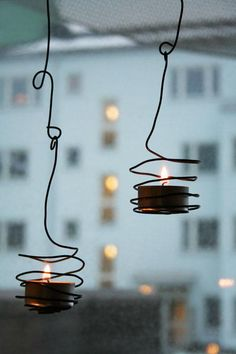 wire + tea lights