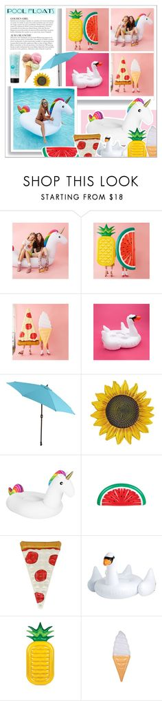"""Contest: Pool Floats"" by oubliettte ❤ liked on Polyvore featuring interior, interiors, interior design, home, home decor, interior decorating, Pier 1 Imports, Sunnylife, KAROLINA and St. Tropez"