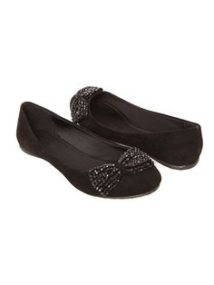 FAUX SUEDE BEADED FLAT SHOES