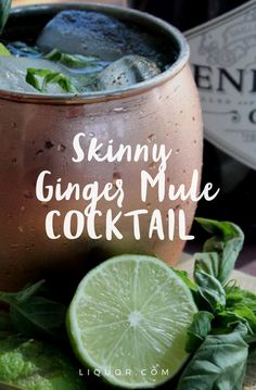 This #lowcalorie ginger mule #cocktail is delicious health concious spin on the #moscowmule.