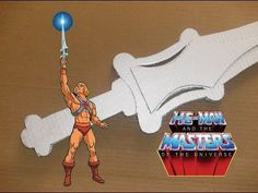 A six layer corrugated metallic silver cardboard He-Man Power Sword! By the power of Grayskull! Masters of the Universe concept. Plus, the Homemade Game Gur. Man Birthday, Boy Birthday Parties, Theme Parties, Birthday Ideas, He Man Costume, Diy Costumes, Halloween Costumes, Toy Swords, Halloween Kids