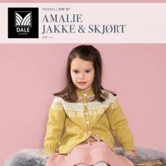 DG359-20 Linus heldress, jakke & tilbehør – Dale Garn Girls Dresses, Flower Girl Dresses, Tights, Ruffle Blouse, Retro, Knitting, Wedding Dresses, Children, Women