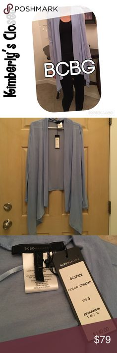 ✨BCBG✨Cardigan BCBG Maxazria Cerulean (powder blue color - 2nd photo shows color best) Long-Sleeve Draped Open-Front Cardigan.  Waist length in the back and longer and draped in the front.  65% polyester, 35% viscose.  Hand wash.  Super soft and light weight cardigan.  Looks fabulous with leggings! BCBG Tops