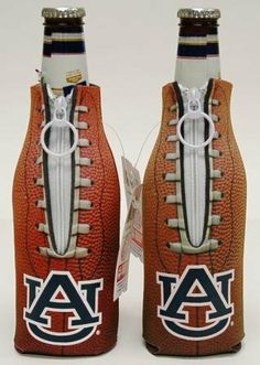 (2) AUBURN TIGERS FOOTBALL BOTTLE COOLIE KOOZIES NEW!