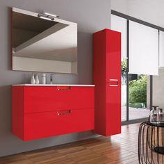 Espectacular mueble de baño en color rojo, suspendido de dos cajones, color en tu baño.