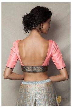 Banarasi Blouses #banarasi #blouse #design #models #banarasiblousedesignmodels Peach Banarasi Border Blouse Choli Blouse Design, Choli Designs, Fancy Blouse Designs, Blouse Back Neck Designs, Lehenga Blouse, Lehenga Choli, Sabyasachi, Stylish Blouse Design, Designer Blouse Patterns