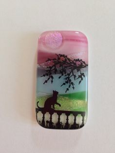 Cat on a Balcony Sunset Pendant Fused Glass with Trees Blue Green Red 2165 by addicted2glassfusion on Etsy