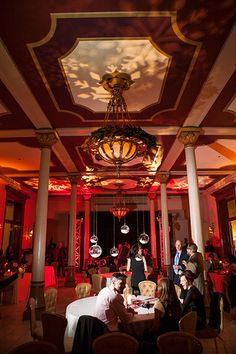 Glass Orbs, Red Uplighting, Pattern Projection, Pinspotting - The Driskill - Stanfield Photography | by IntelligentLightingDesign