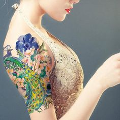 Supperb Large Temporary Tattoos - Watercolor Dream of peacock & Blue Flowers (affiliate) Peacock Tattoo Sleeve, Watercolor Peacock Tattoo, Watercolor Tattoos, Peacock Painting, Watercolor Painting, Pretty Tattoos, Cool Tattoos, Tatoos, Anklet Tattoos
