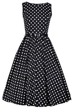 Black & White Polka Dot Hepburn Dress - £40