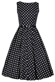 Black & White Polka Dot Hepburn Dress - £40