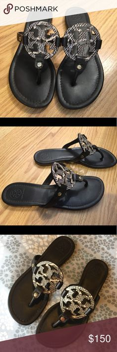 663d454c7f8a1a Tory Burch Miller Sandals - chocolate brown print Nearly new story Burch  Miller sandals. Gorgeous