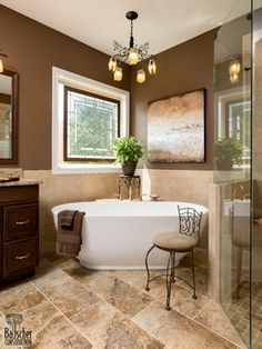 I would love a high walled stand alone tub with a shower on the side. For the full guest bathroom.