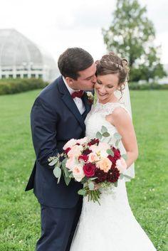 Burgundy & Peach Bridal Wedding Day Bouquet: Navy & Burgundy Wedding from Madeline Jane Photography featured on Burgh Brides