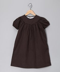 Wow only 16.99- Brown Polka Dot Puff-Sleeve Dress by Smockadot Kids on #zulily today!