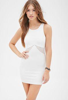 FOREVER 21 Mesh-Paneled Bodycon Dress White