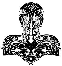Norse and Viking Leather Art Bone Jewelry and Drinking Horns by Wodenswolf: Thor's Hammer 2012 Heidnisches Tattoo, Pagan Tattoo, Norse Tattoo, Wiccan Tattoos, Inca Tattoo, Symbol Tattoos, Viking Designs, Celtic Designs, Dragon Tattoo Clipart