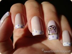 Owl Nail Art With Polka Dot Tips