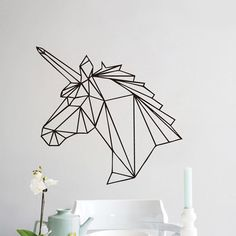 Removeble Geometric Animal Deer Head Design Wall Sticker Geometry Series Elk