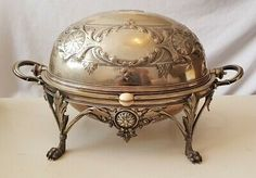 Beautiful Ornate Antique Silver Plate Revolving Breakfast Dish 1800s J B & S | eBay Vintage Silver, Antique Silver, Dressing Table Tray, Breakfast Tray, Floral Style, Serving Dishes, Metals, Silver Plate, Mid Century