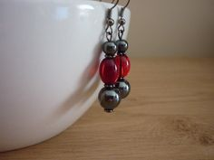 HEMATITE AND RED DANGLE EARRINGS. £5.00