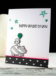 Lawn Fawn -Year Four _ cute card by Vanessa _ hippo birdie | Flickr - Photo Sharing!