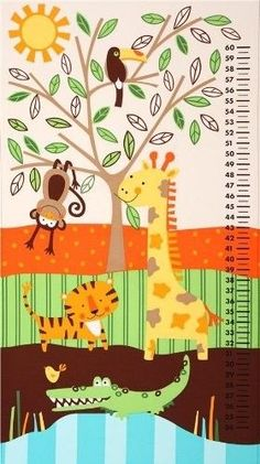 Child's Growth Chart Panel, Jungle Bunch, by the panel #276 #TimelessTreasures