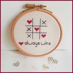 Love always wins Cross Stitch design:  http://www.sundownstitcher.co.uk/product/love-always-wins-cross-stitch-embroidery-hoop  #love #crossstitch #embroidery #xstitch #romantic #gift #homedecor #creative