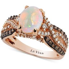 Le Vian Chocolatier Opal (1-1/5 ct. t.w.) and Diamond (3/4 ct. t.w.)... ($4,350) ❤ liked on Polyvore featuring jewelry, rings, white, 14k rose gold ring, round cut diamond rings, cocktail rings, rose gold ring and pink gold diamond ring