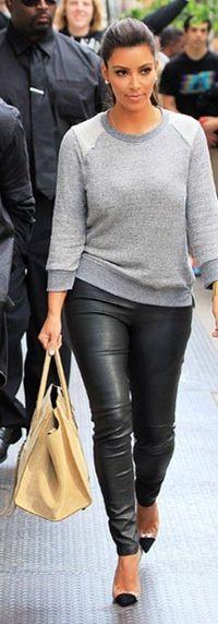 Kim Kardashian - Casual - Leather Leggings