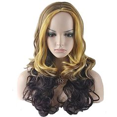RightOn 22 Long Wavy Charming Wig Mixed Color Natural as Real Hair  Free Wig CapFree Comb BrownBlondeBlack * Check this awesome product by going to the link at the image.